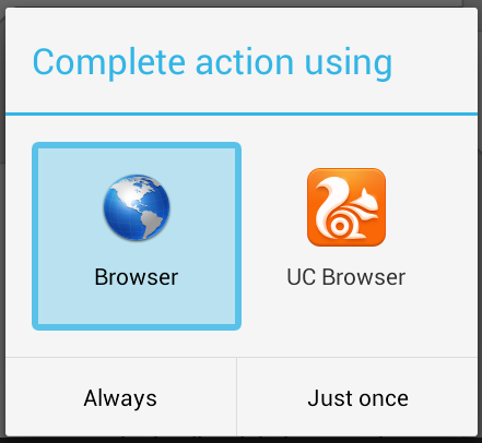 android-complete-action-using